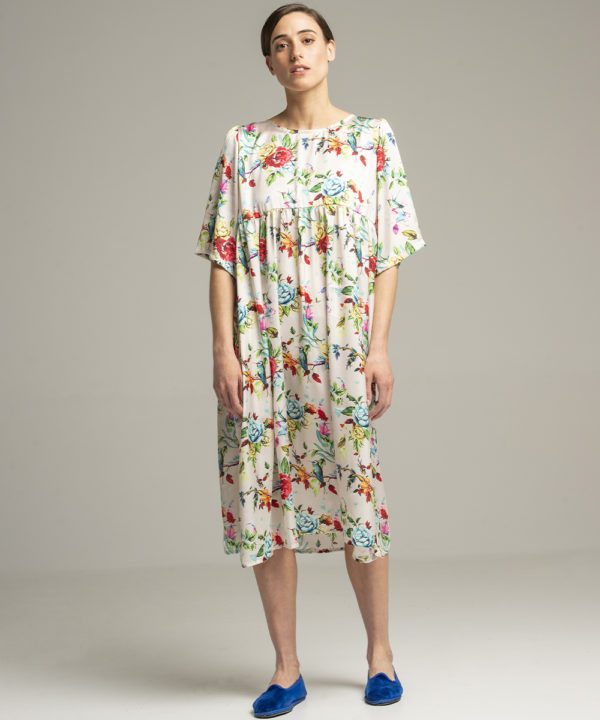 Flower Dress - Electric Paros - One of a kind flower print. Mid length