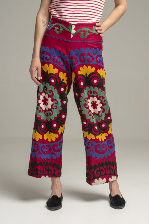 vintage suzani fabric hand embroidered pants