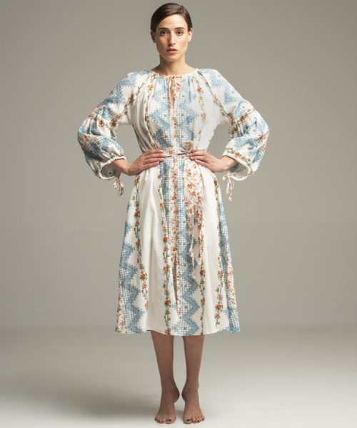 Tidewater Dress - Electric Paros - Fine Khadi cotton printed