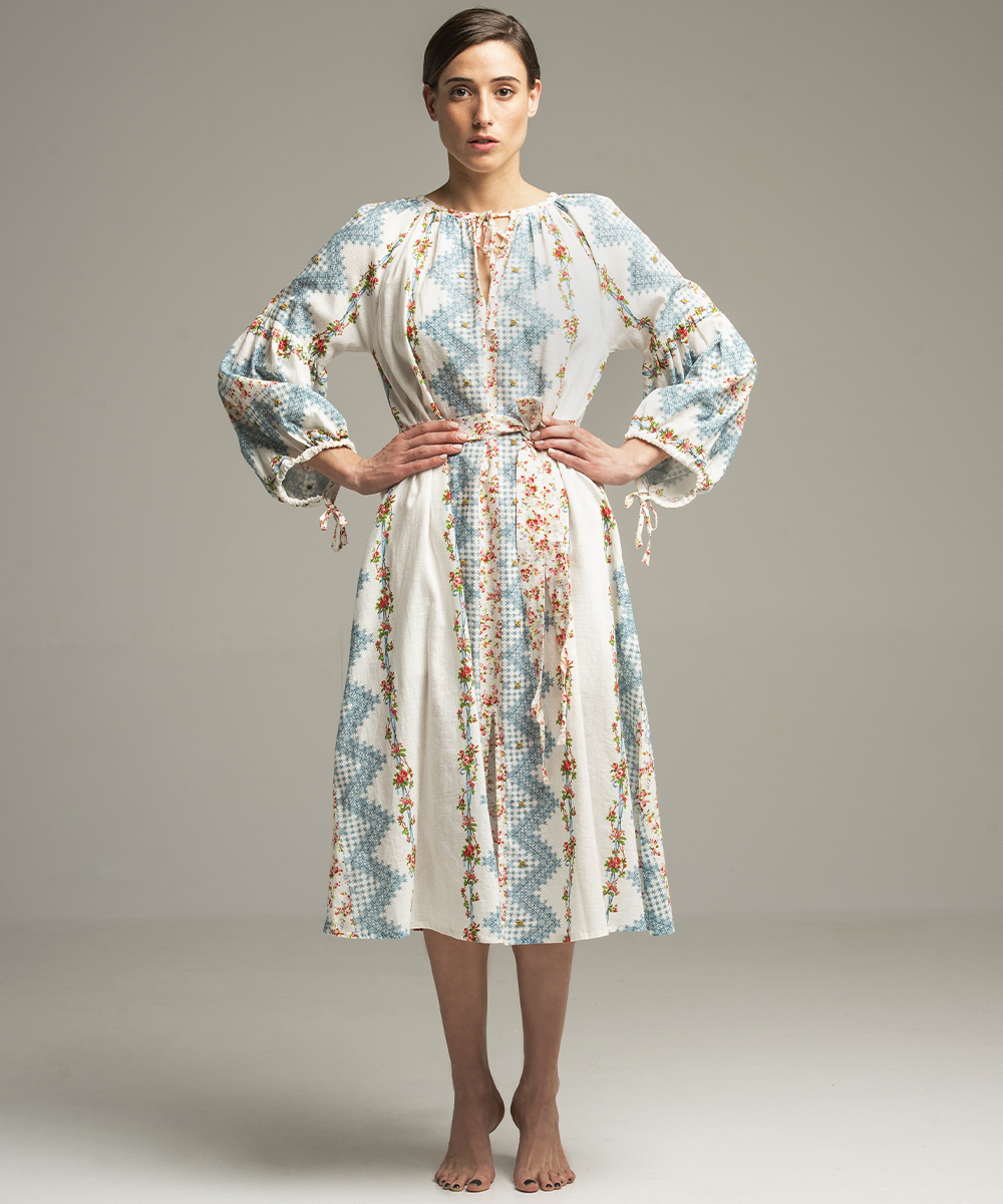 Tidewater Dress - Electric Paros - Fine Khadi cotton printed