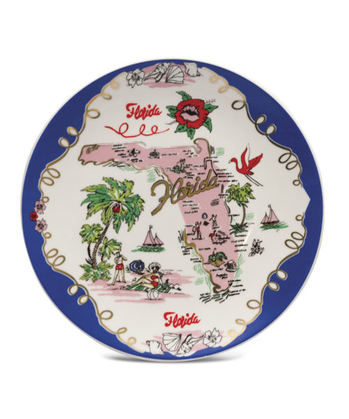 Florida Plate - Electric Paros - Florida map on ceramic plate.