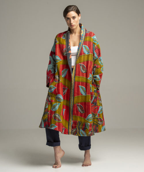 Jacket - Electric Paros - Unique vintage kantha cloth turned to a long jacket by Electric Atelier. Loose fit