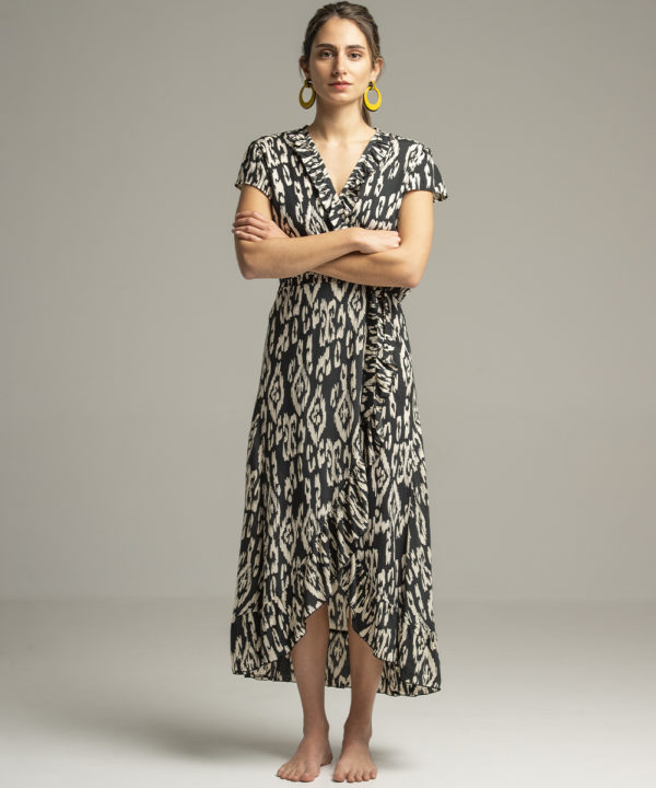 Dress - Electric Paros - Wrap dress with ruffles at the end