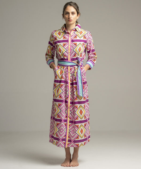 Dress Indra Geometrique Pink - Electric Paros - SKU ep2053