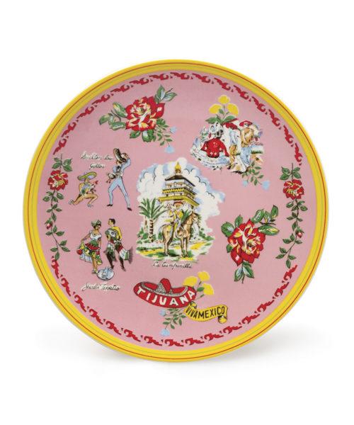 Tijuana Plate - Electric Paros - Mexico theme on ceramic plate.