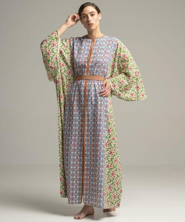 Emir Kaftan - Electric Paros - Fine Khadi cotton printed