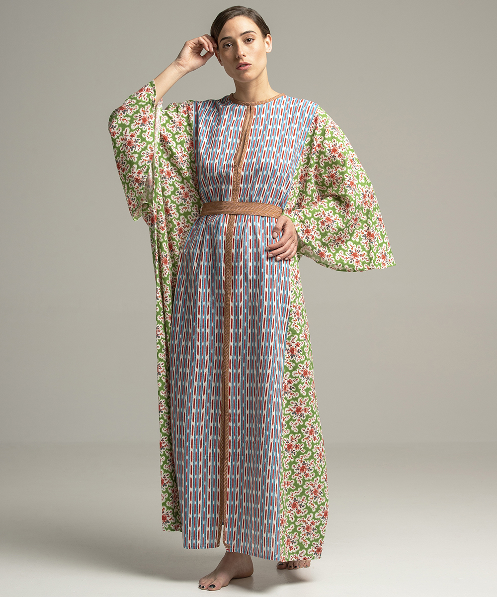 Emir Kaftan - Electric Paros - Fine Khadi cotton printed