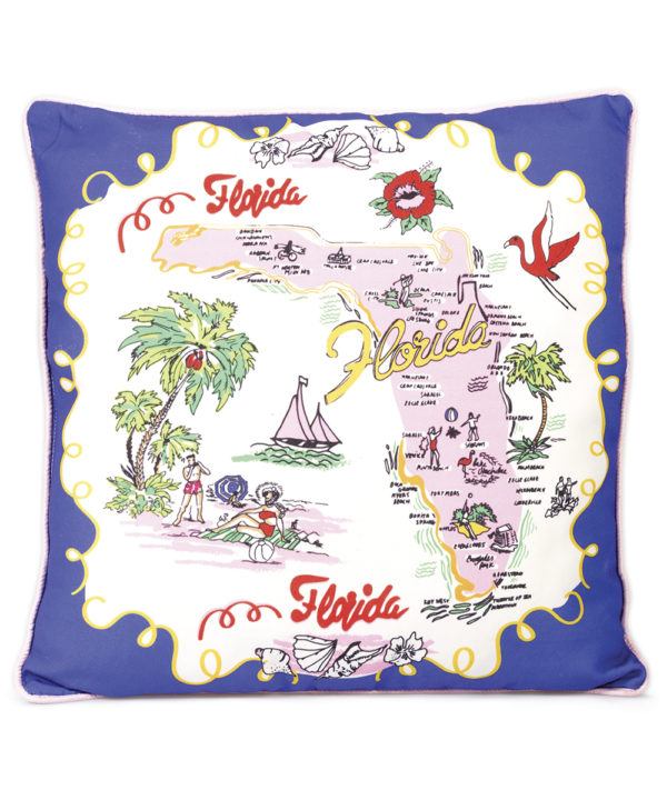 Florida Pillow - Electric Paros - Florida map printed on pillow