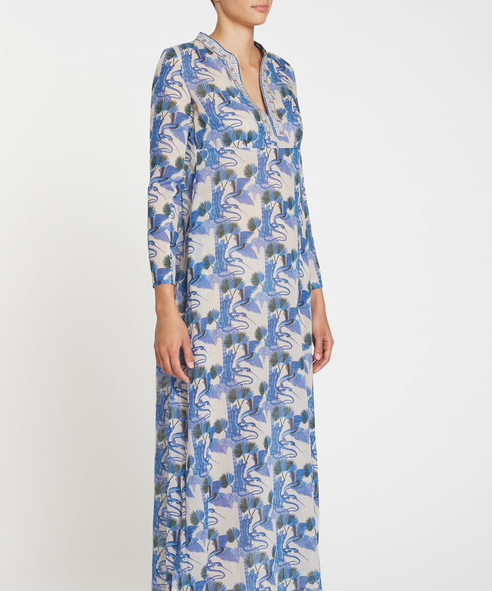 7600 21SSM01 New Cappa Love Story Long Caftan Cotton Voile Blue F
