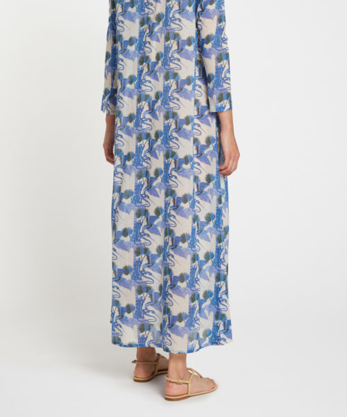 7600 21SSM01 New Cappa Love Story Long Caftan Cotton Voile Blue R