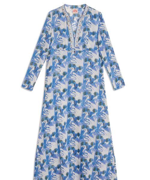 7600 21SSM01 New Cappa Love Story Long Caftan Cotton Voile Blue S