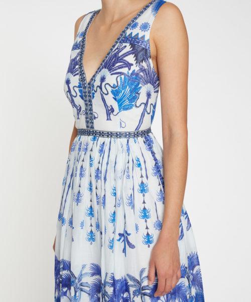 7658 21SSN07 Sophia Winter Garden Dress Cotton Voile Blue D