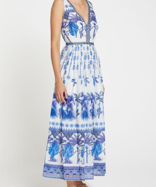 7658 21SSN07 Sophia Winter Garden Dress Cotton Voile Blue F