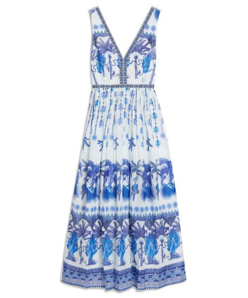 7658 21SSN07 Sophia Winter Garden Dress Cotton Voile Blue S